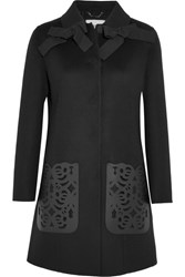 Fendi Leather Paneled Wool Felt Coat Black