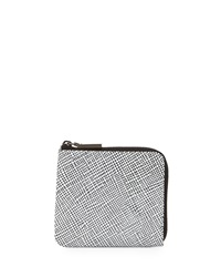 Time's Arrow Grid Leather Mini Zip Wallet White