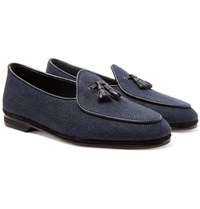 Rubinacci Marphy Leather And Suede Trimmed Herringbone Linen Tasselled Loafers Navy