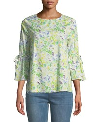 Philosophy Floral Bell Sleeve Cotton Blouse Green Pattern