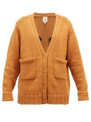 Joostricot Smiley Embroidered Wool Blend Cardigan Light Brown