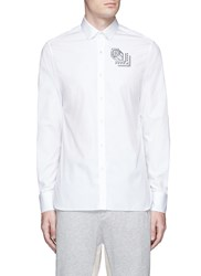 Lanvin Rose Tattoo Embroidered Poplin Shirt White