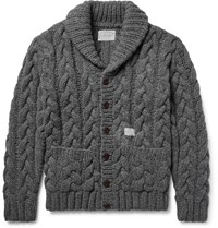 Neighborhood Shawl Collar Cable Knit Wool Cardigan Gray
