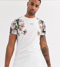 Religion Tall T Shirt With Pink Box Skull Print In White