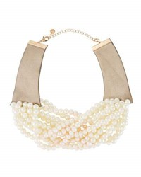Lydell Nyc Multi Strand Pearlescent Beaded Torsade Choker Necklace White