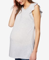 A Pea In The Pod Maternity Ruffled Sleeve T Shirt Heather Grey White Stripe