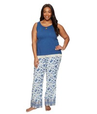 Lucky Brand Plus Size Cotton Fringe Tee Jay Blue Parina Floral Women's Pajama Sets