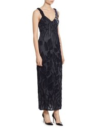 Giorgio Armani Embroidered Tulle V Neck Gown Navy