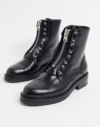 Allsaints Ariel Zip Front Lace Up Detail Chunky Leather Boots In Black