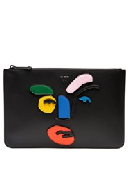 Fendi Abstract Face Leather Pouch Black Multi