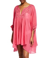 Flora Bella Saudade Short Cotton Coverup Caftan Begonia