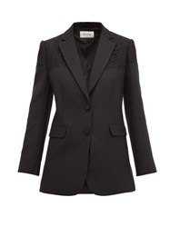Valentino Single Breasted Lace Trimmed Wool Blend Jacket Black