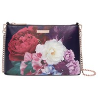 Ted Baker Narla Blushing Bouquet Leather Across Body Bag Navy