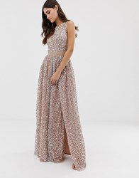 Maya Allover Contrast Tonal Delicate Sequin Dress With Satin Waist In Taupe Blush Taupe Blush Brown