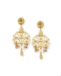 Jose And Maria Barrera Beaded Agate Chandelier Drop Clip On Earrings Gold