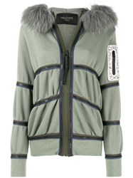 Mr And Mrs Italy Trimmed Hooded Cardigan Green