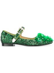 Toga Sequined Ballerina Shoes Green