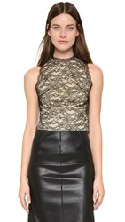 Alice Olivia Emery Lace Crop Top With Open Back Black Natural