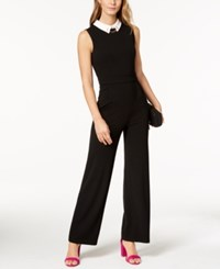 Ivanka Trump Embellished Collared Jumpsuit Black