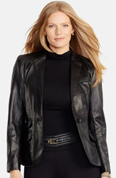 Lauren Ralph Lauren One Button Leather Blazer Plus Size Black