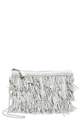 G Lish Bead And Leather Fringe Crossbody Bag White