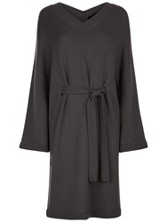 Jaeger Wool V Neck Slouchy Dress Charcoal