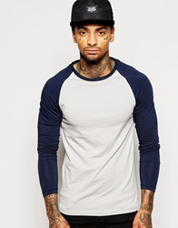 Asos Extreme Muscle Fit Long Sleeve T Shirt With Contrast Raglan Sleeves Greynavy