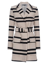 French Connection Escher Stripe Belted Mac Coat Classic Cream Nocturnal