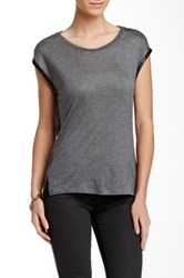 Fate Faux Leather Trim Cap Sleeve Tee Gray