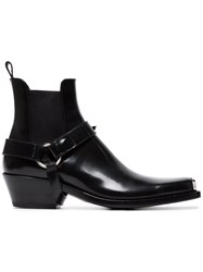 Calvin Klein 205W39nyc Black Western Harness Leather Boots