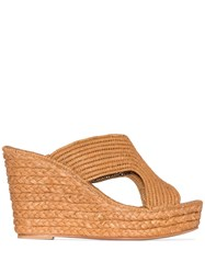 Carrie Forbes Lina 40Mm Raffia Wedge Sandals Brown