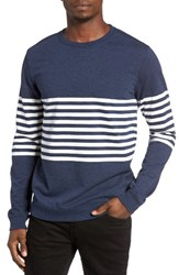 Rvca Men's New Sins Stripe Sweatshirt Federal Blue