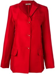 Nina Ricci Pleated Blazer Red
