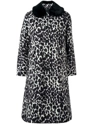 Marc Jacobs Snow Leopard Print Overcoat Black