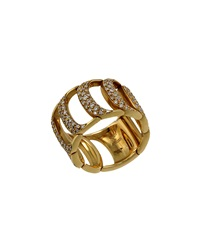 Damiani Damianissima 18K Diamond Pave D Link Band Ring Gold