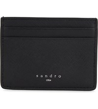 Sandro Saffiano Leather Card Holder Black