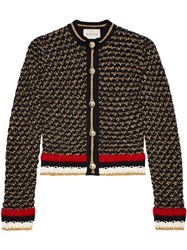 Gucci Lurex Blend Cardigan With Web Cotton Polyester Nylon Pearls Black