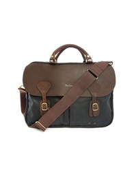 Barbour Navy Waxed Cotton Leather Briefcase