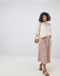 Intropia Prairie Buttondown Midi Skirt Pink Print