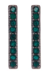 14Th And Union Pave Long Bar Stud Earrings Green