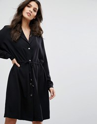 Y.A.S Loose Button Up Dress Black