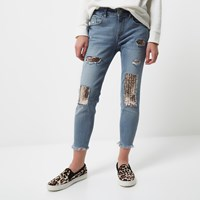 River Island Womens Petite Sequin Alannah Relaxed Skinny Jeans