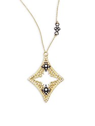 Armenta Old World Diamond Sapphire 18K Yellow Gold And Sterling Silver Mesh Cravelli Marquis Pendant Necklace