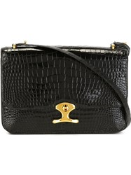 Hermes Vintage Flap Shoulder Bag Black