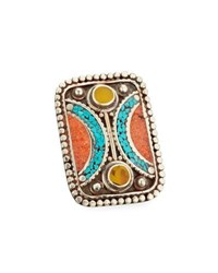 Devon Leigh Turquoise Coral And Jade Rectangle Ring