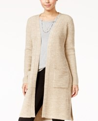 Almost Famous Juniors' Duster Cardigan With Belt Oatmeal White