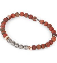 Tateossian Stonehenge Rainbow Jasper Beaded Bracelet Ruthenium Red