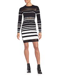 Rebecca Minkoff Groovy Striped Long Sleeve Dress Black White