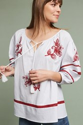 Anthropologie Ola Embroidered Peasant Top White