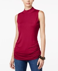 Inc International Concepts Ruched Mock Turtleneck Top Only At Macy's Real Red